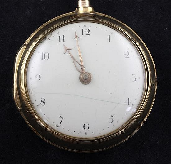 A George III 22ct gold pair cased keywind verge pocket watch by Simon Levin & Son, London,