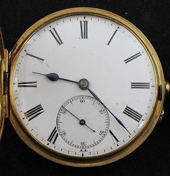 An 18ct gold keyless lever half hunter pocket watch,