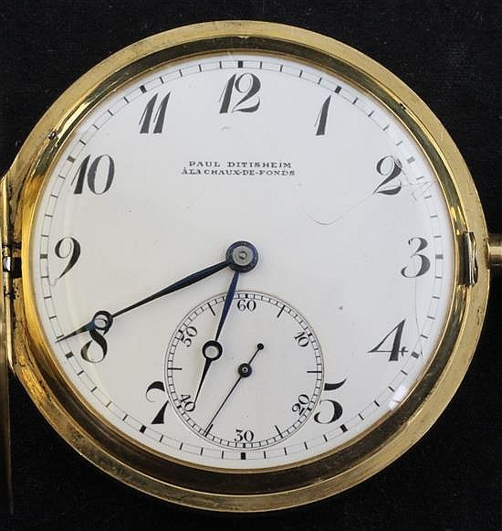 An early 20th century Swiss 18ct gold keyless lever hunter pocket watch retailed by Paul Ditisheim,
