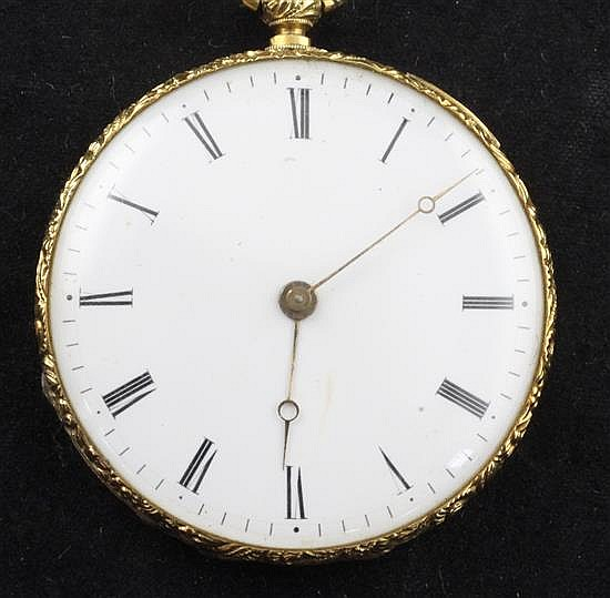 An early 20th century Swiss engine turned gold keywind cylinder dress pocket watch,