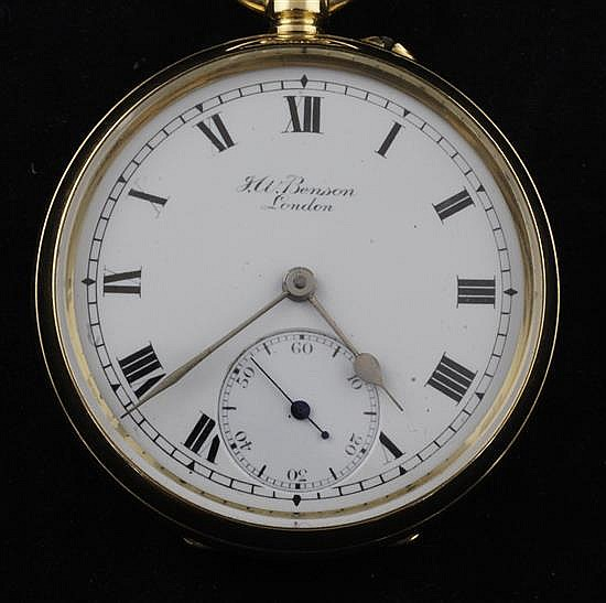 A Victorian 18ct gold keyless pocket watch