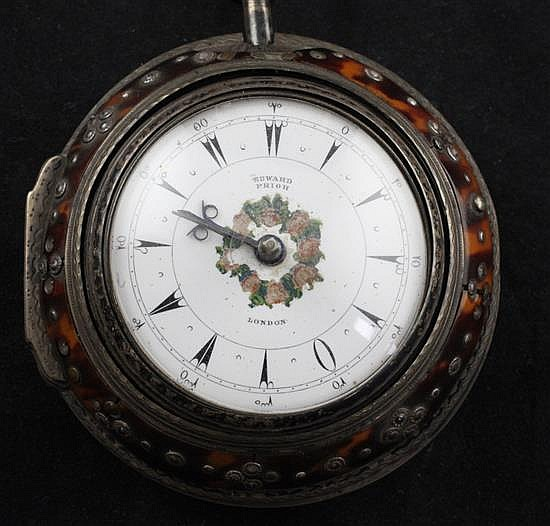 A Victorian triple cased silver and tortoiseshell keywind verge pocket watch made for the Turkish market, by Edward Prior,