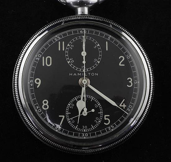 A mid 20th century base metal Hamilton Model 23 military issue chronograph keyless pocket watch,