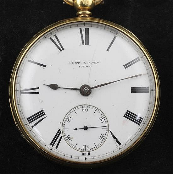An 18ct gold open face keywind pocket watch by Dent, No. 13983,