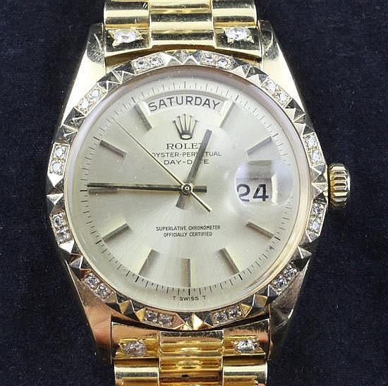 A gentleman's 1960's 18ct gold and after market diamond set Rolex Oyster Perpetual Day Date wrist watch, with box.