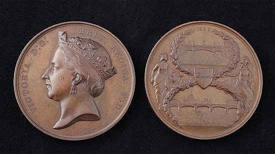 A pair of scarce bronze medals by G. G. Adams, 1869, commemorating the opening of Blackfriars Bridge and Holborn Viaduct, diameter 76mm