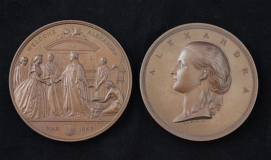 A pair of bronze medals by J. S. Wyon, 1863, commemorating the London visit of Princess Alexandra, diameter 76mm, case at fault