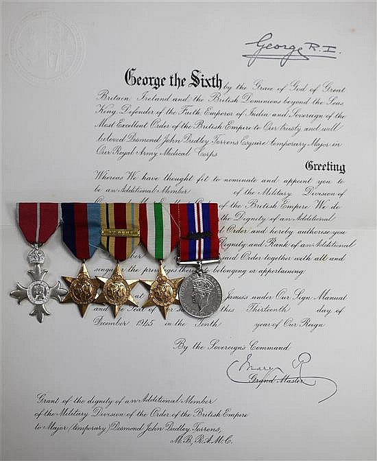 A WWII medal group and MBE to Major Desmond J D Torrens R.A.M.C. with miniatures and related ephemera