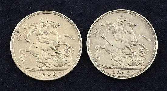 A Victoria 1892 gold full sovereign and an Edward VII 1906 gold full sovereign,