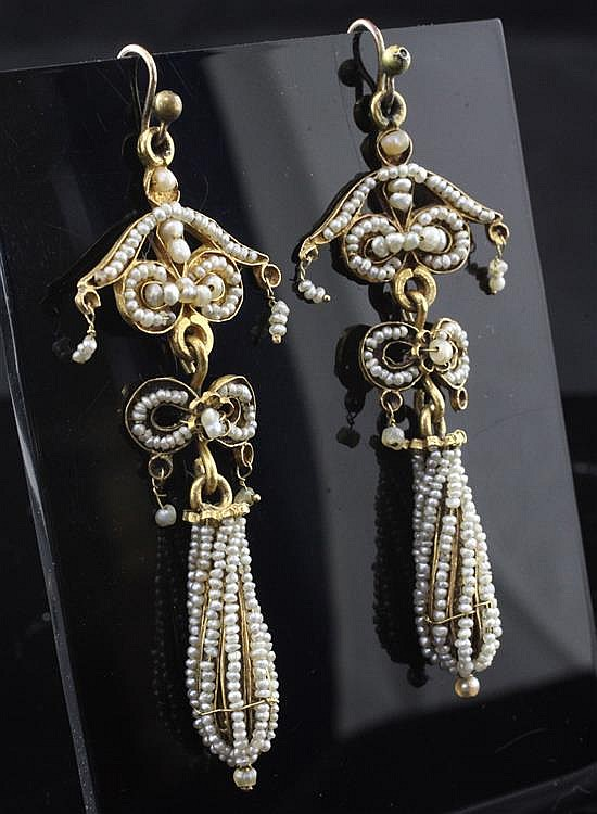 A pair of Victorian gold and multi seed pearl set drop earrings, 2.75in.