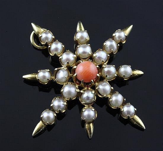A late Victorian gold, cultured pearl and coral eight pointed star pendant, 1.25in.