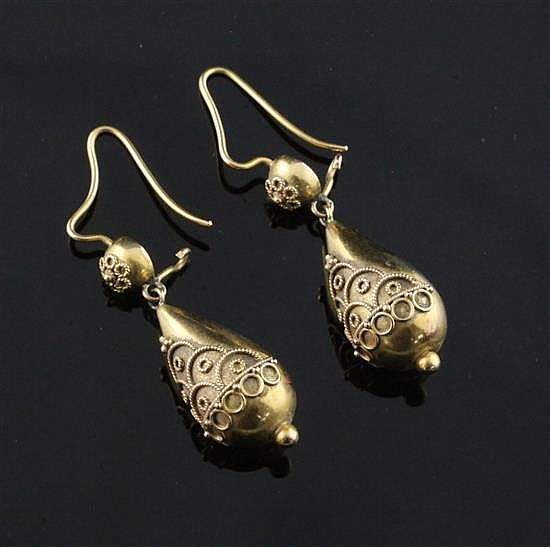 A pair of Victorian gold teardrop shaped drop earrings, 30mm.