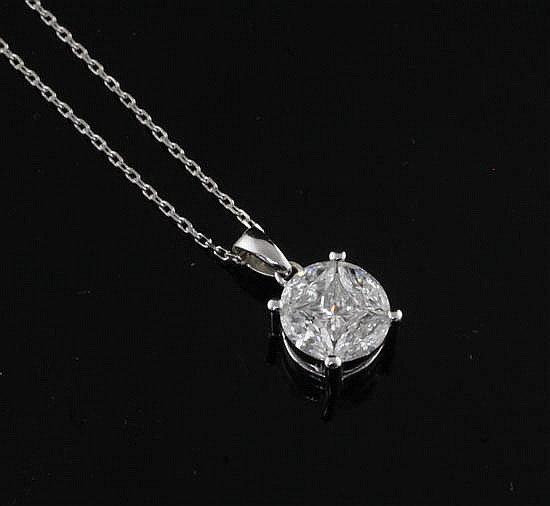An 18ct gold, marquise and princess cut diamond set cluster pendant, on a 9ct white gold fine link chain, chain 17in.