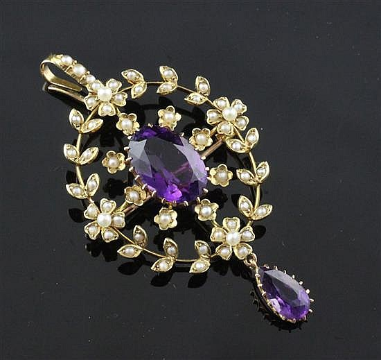 A Victorian 15ct gold, amethyst seed pearl drop pendant brooch, 2.25in.