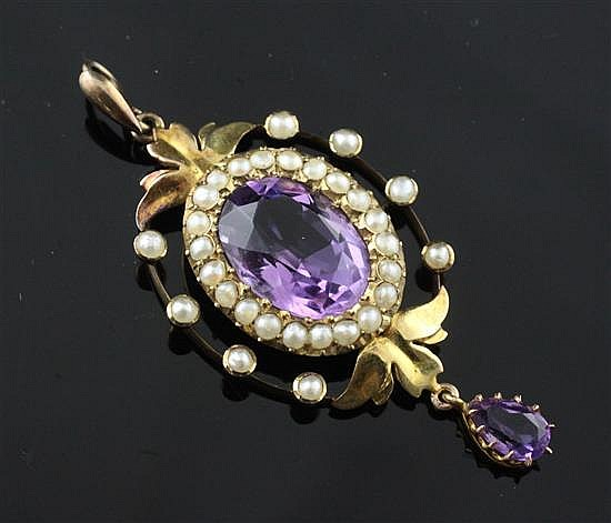 A late Victorian 15ct gold, amethyst and seed pearl drop pendant, 2in.