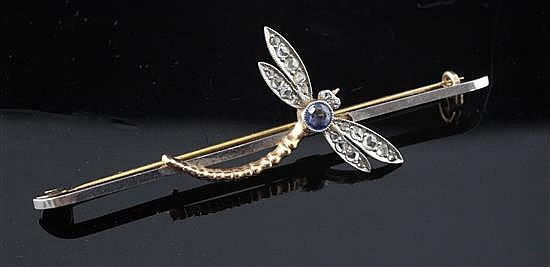 An early 20th century gold and platinum, sapphire and rose cut diamond set dragonfly bar brooch, 2.5in.