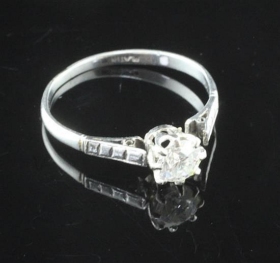 A 1920''s platinum and solitaire diamond ring, shank broken.