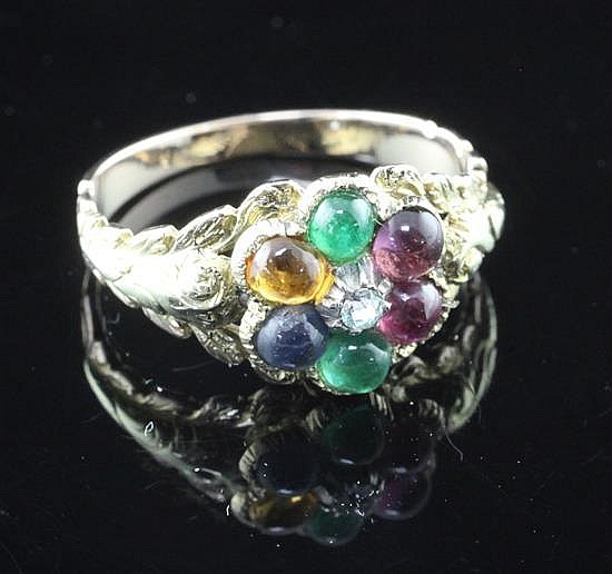 A late Victorian gold and multi-gem set