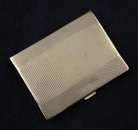 A late 1920's engine turned 9ct gold cigarette case, 3.5in.