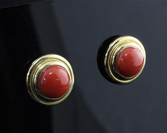 A modern pair of 18ct gold and coral bead earrings, 14mm.