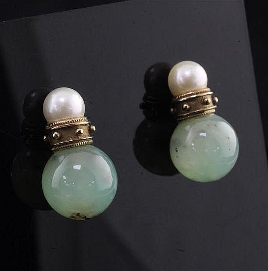 A pair of 14ct gold, cultured pearl and green chalcedony bead earrings,