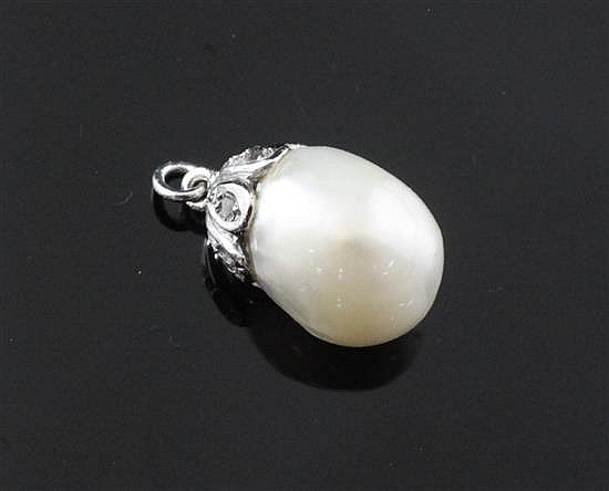 A white gold and rose cut diamond mounted natural saltwater baroque pearl pendant,