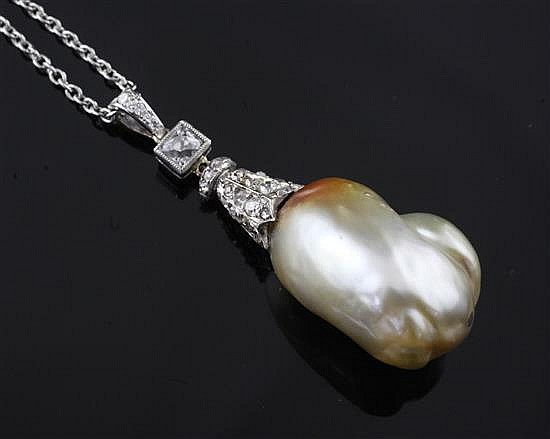 A white gold and rose cut diamond mounted natural salt water baroque pearl pendant, chain 145in.