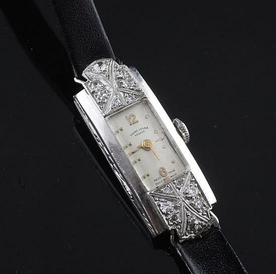 A lady's platinum and diamond set Favre-Leuba manual wind cocktail watch,