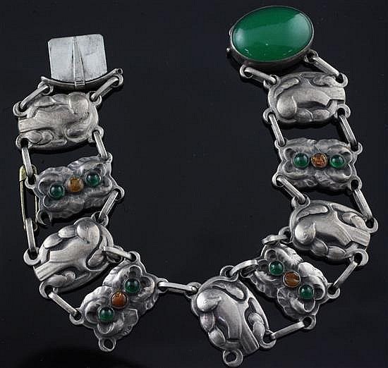 An early 20th century Georg Jensen 830 standard silver, green chalcedony and amber set bracelet, no.33, 8.25in.