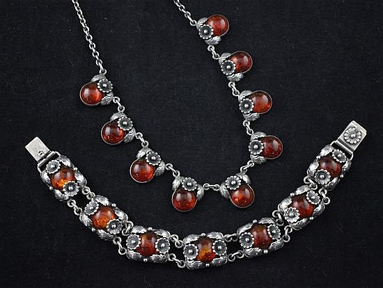 A suite of Danish sterling silver and amber jewellery by Niels Erik From, 16in & 7.75in.