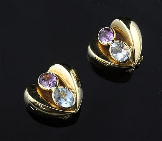 A pair of modern 18ct gold and gem set heart shaped ear clips, 20mm.