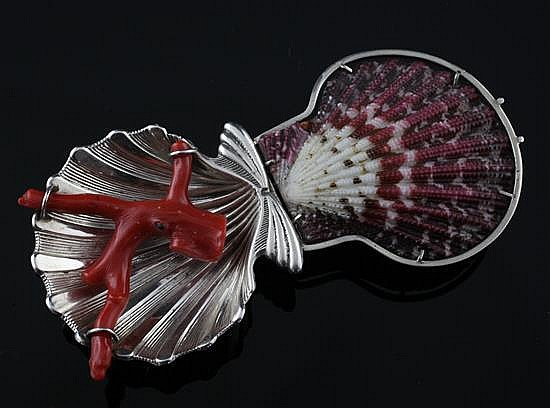 A modern Italian silver, shell and coral clip brooch modelled by M.H. Wilkens & Sohne and Clementi & Cie for Buccellati