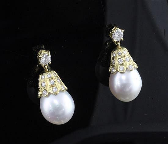 A pair of 18ct gold, diamond and South Sea pearl drop earrings, drop 0.75in.