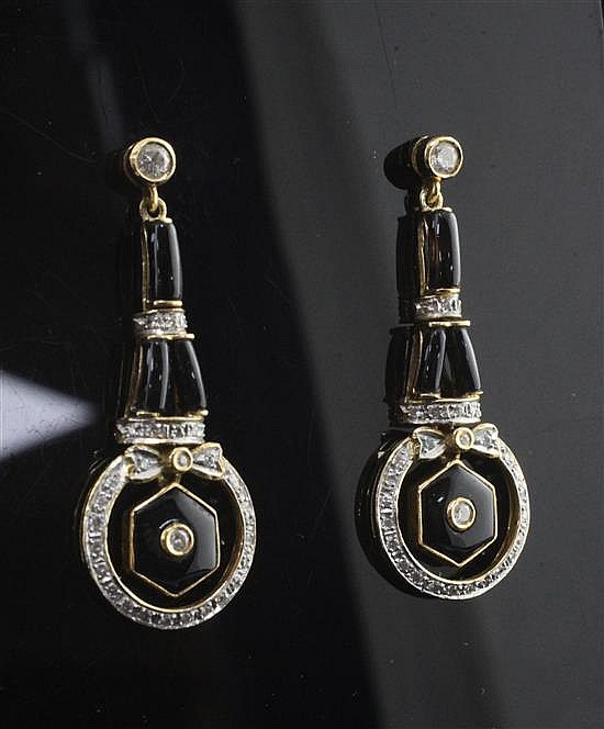 A pair of 18ct gold, diamond and black enamel drop earrings, 1.5in.