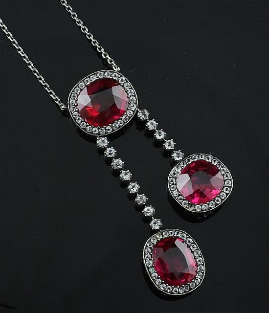 A mid 20th century white metal and synthetic ruby double drop pendant necklace, pendant 2in.