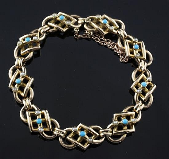 An Edwardian 15ct gold, turquoise and seed pearl set shaped link bracelet, approx. 6.25in.