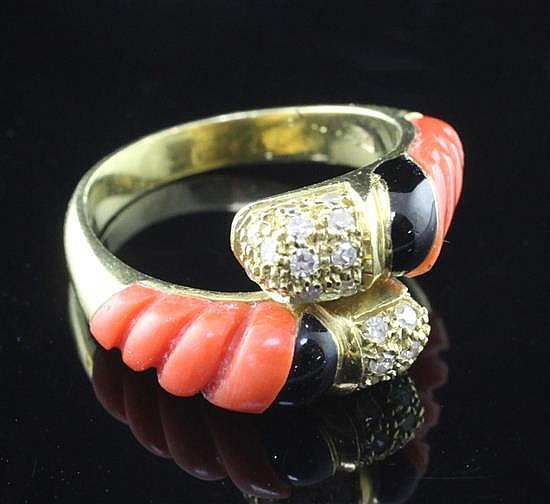 An Italian gold, coral, black enamel and diamond crossover ring, size M.
