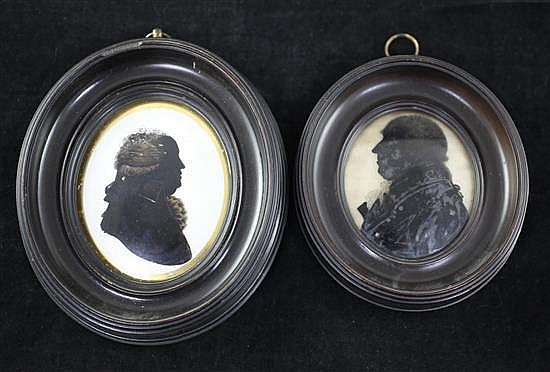 Hunt Silhouette of Samuel Hemmans (died 1819) and another similar silhouette 3 x 2.5in. and 3.5 x 2.75in.
