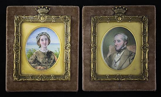 Victorian School Miniatures of a lady and gentleman 4.25 x 3.5in.