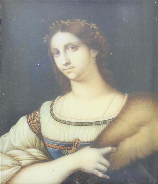 Italian School Miniature of a young woman 3.75 x 3in.