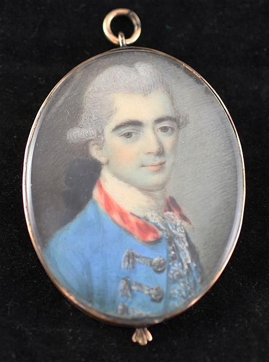 French school c.1770 Miniature of a nobleman wearing a blue coat 1.75 x 1.25in., engraved gold frame