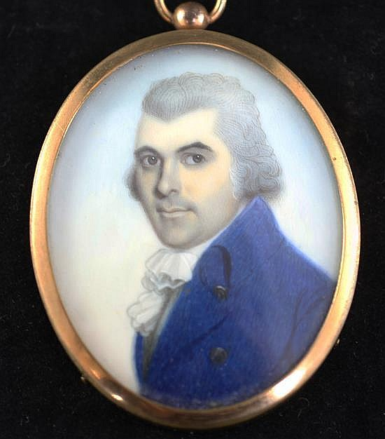 John Barry (fl.1784-1827) Miniature of a gentleman wearing a blue coat 2.5 x 2in.