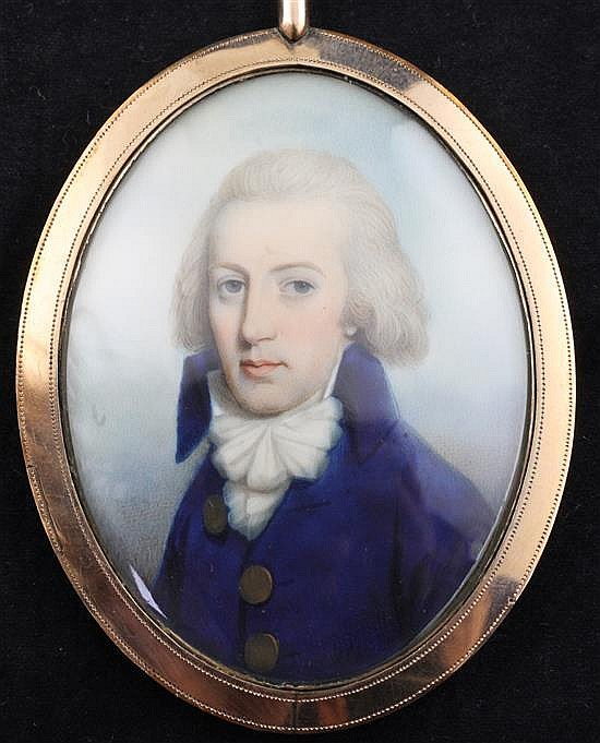 Thomas Hazlehurst (c.1740-c.1821) Miniature of a gentleman wearing a blue coat with large gold buttons 2.25 x 1.75in., gold frame