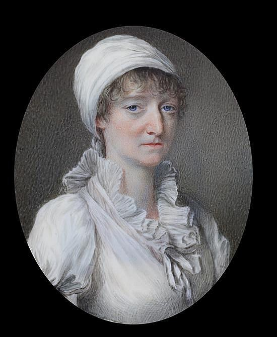John Turmeau (1777-1846) Miniature of a lady wearing a white turban and white dress 3 x 2.5in., red leather cased