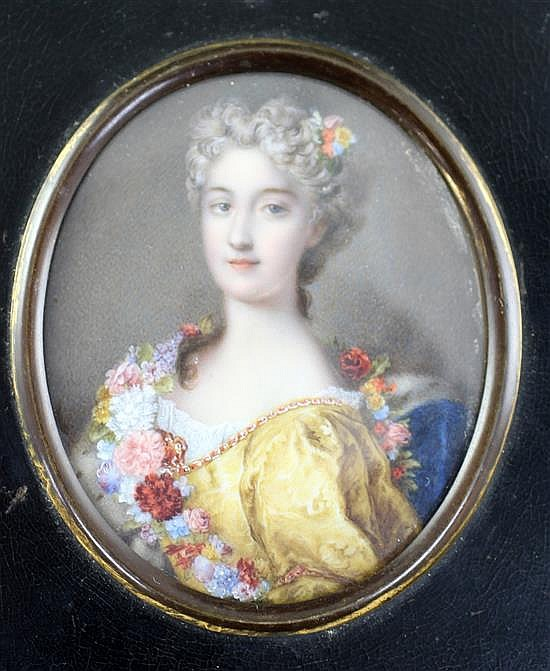 French School c.1900 Miniature of an 18th century lady with flowers on her dress 3.25 x 2.75in.