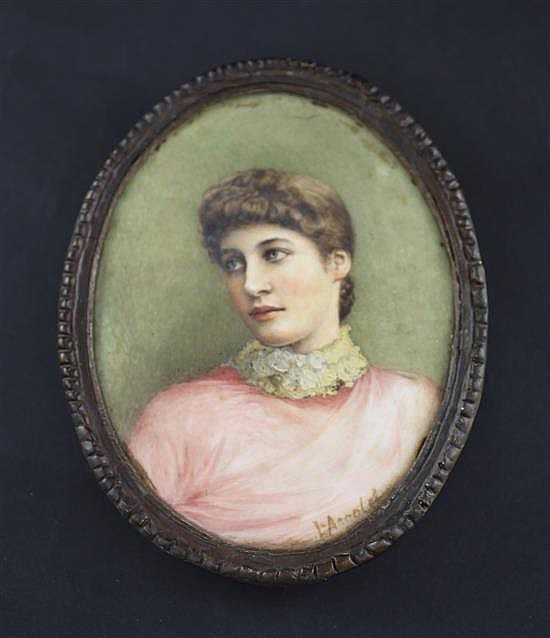 Lilly Arnold (neé Grace) (Exh.1887-1927) Miniatures of Lillie Langtry and her friend, Mary Cornwallis West, 5 x 4in.