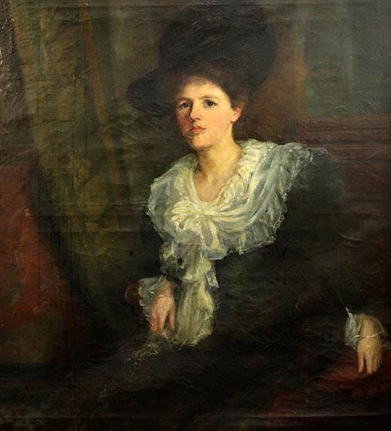Ethel A. Kent (Exh.1896-98) Portrait of a seated lady 45 x 40in.