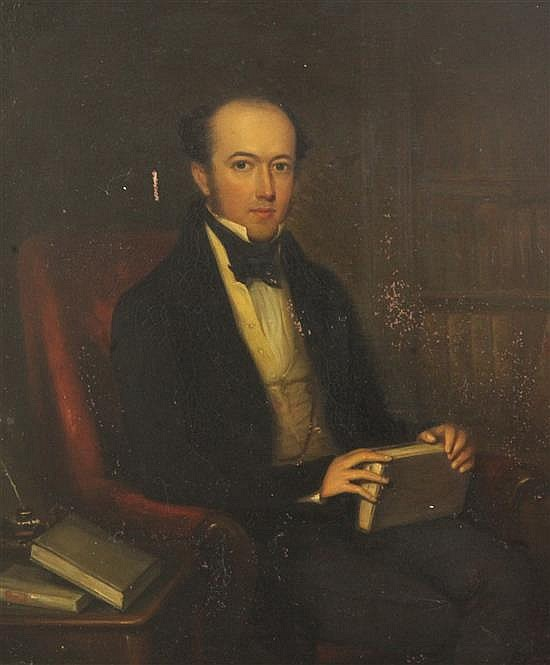 Mid 19th century English School Portraits of Alexander Luard Wollaston and his wife, Susan 13.5 x 11.5in.