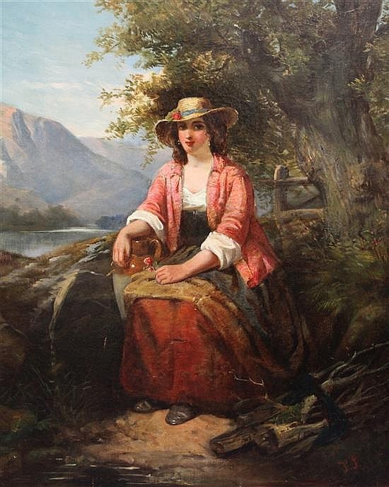 19th century English School Portrait of a lady seated in a landscape 30 x 25in., unframed