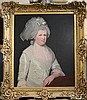 Manner of Zoffany Half length portrait of a lady wearing a white dress 30 x 25in.